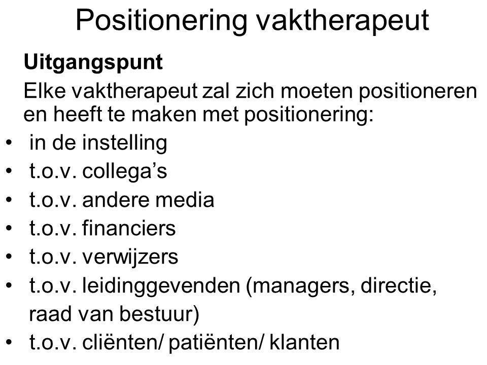 Positionering vaktherapeut Uitgangspunt Elke vaktherapeut zal zich moeten positioneren en heeft te maken met positionering: in de instelling t.o.v. co