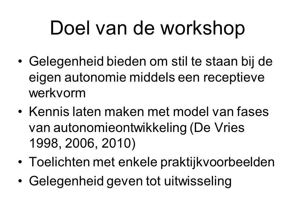 Doel van de workshop Gelegenheid bieden om stil te staan bij de eigen autonomie middels een receptieve werkvorm Kennis laten maken met model van fases