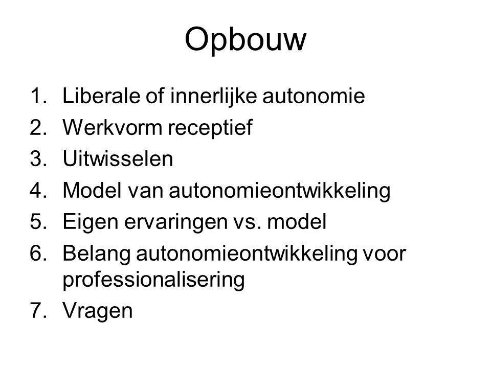 Opbouw 1.Liberale of innerlijke autonomie 2.Werkvorm receptief 3.Uitwisselen 4.Model van autonomieontwikkeling 5.Eigen ervaringen vs. model 6.Belang a