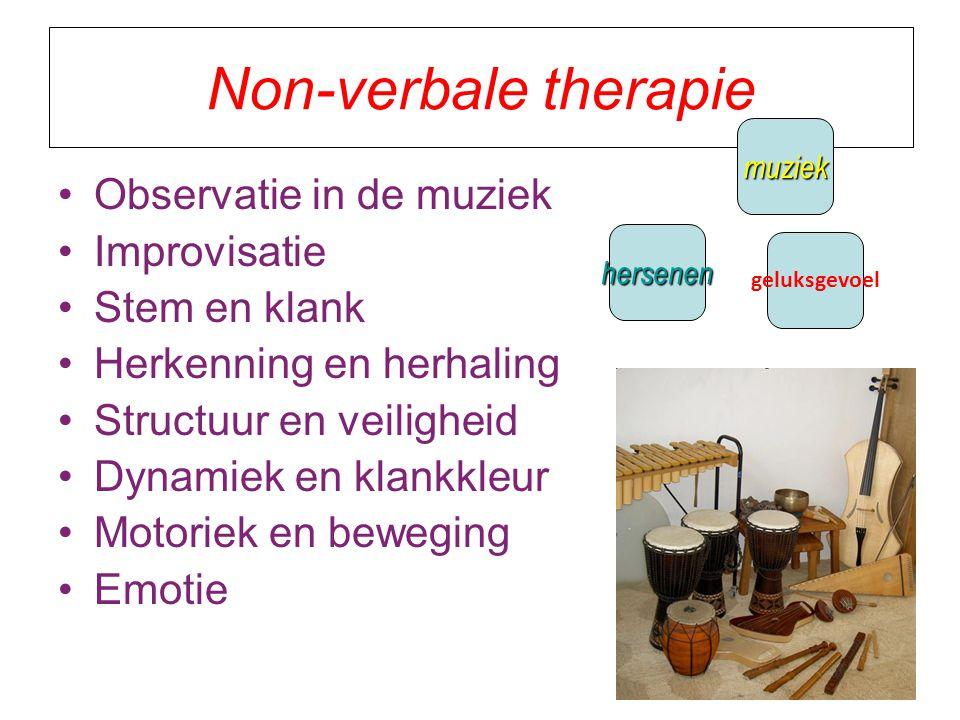 Non-verbale therapie Observatie in de muziek Improvisatie Stem en klank Herkenning en herhaling Structuur en veiligheid Dynamiek en klankkleur Motoriek en beweging Emotie geluksgevoel hersenen muziek