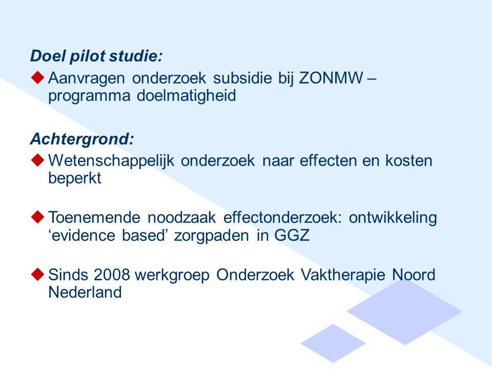 Doel pilot studie:  Aanvragen onderzoek subsidie bij ZONMW – programma doelmatigheid Achtergrond:  Wetenschappelijk onderzoek naar effecten en kosten beperkt  Toenemende noodzaak effectonderzoek: ontwikkeling 'evidence based' zorgpaden in GGZ  Sinds 2008 werkgroep Onderzoek Vaktherapie Noord Nederland