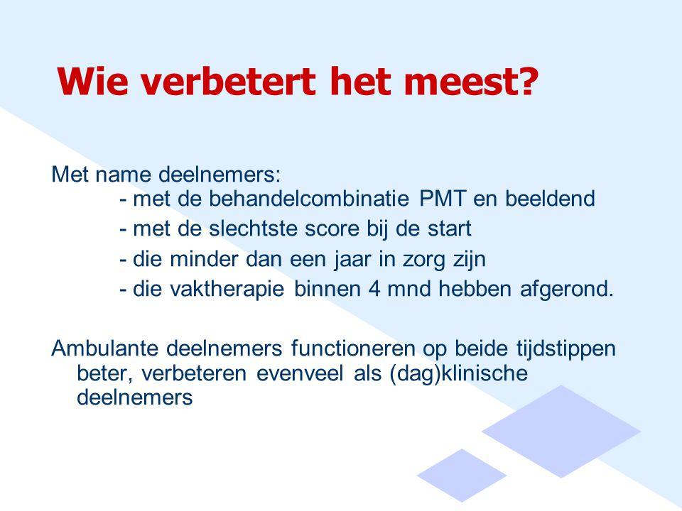 Wie verbetert het meest? Met name deelnemers: - met de behandelcombinatie PMT en beeldend - met de slechtste score bij de start - die minder dan een j