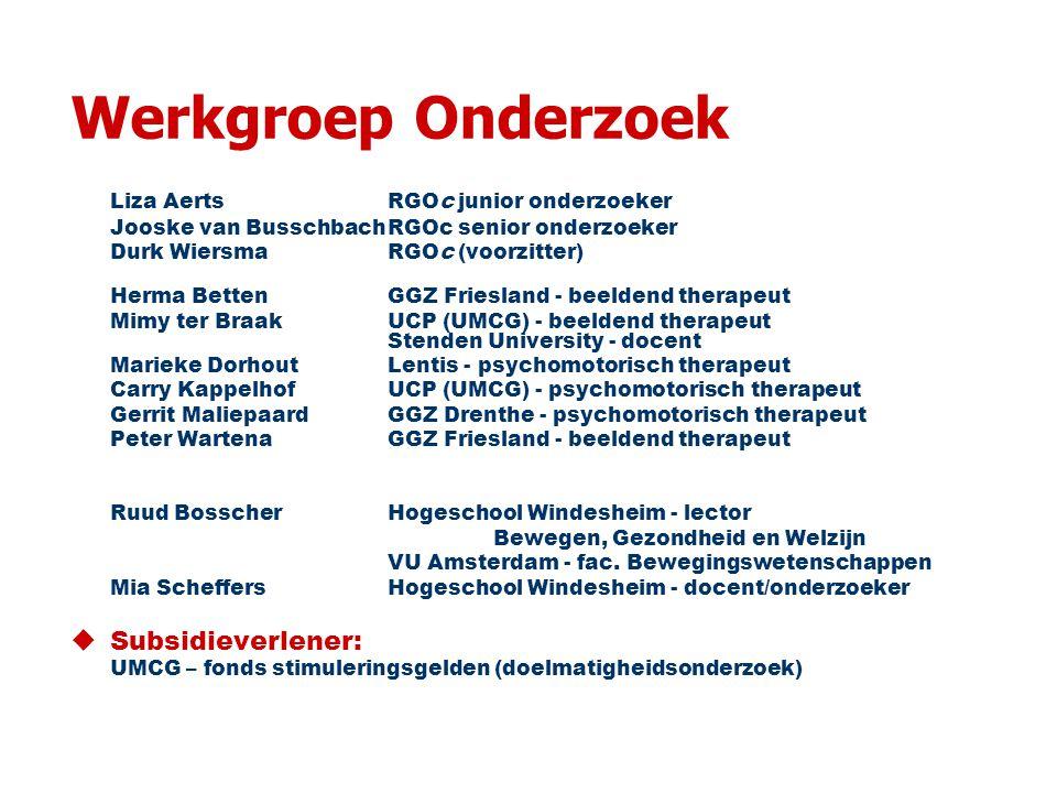 Werkgroep Onderzoek Liza Aerts RGOc junior onderzoeker Jooske van BusschbachRGOc senior onderzoeker Durk WiersmaRGOc (voorzitter) Herma BettenGGZ Friesland - beeldend therapeut Mimy ter BraakUCP (UMCG) - beeldend therapeut Stenden University - docent Marieke DorhoutLentis - psychomotorisch therapeut Carry Kappelhof UCP (UMCG) - psychomotorisch therapeut Gerrit MaliepaardGGZ Drenthe - psychomotorisch therapeut Peter Wartena GGZ Friesland - beeldend therapeut Ruud Bosscher Hogeschool Windesheim - lector Bewegen, Gezondheid en Welzijn VU Amsterdam - fac.