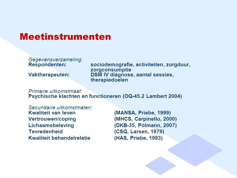 Meetinstrumenten Gegevensverzameling: Respondenten:sociodemografie, activiteiten, zorgduur, zorgconsumptie Vaktherapeuten:DSM IV diagnose, aantal sessies, therapiedoelen Primaire uitkomstmaat: Psychische klachten en functioneren (OQ-45.2 Lambert 2004) Secundaire uitkomstmaten: Kwaliteit van leven (MANSA, Priebe, 1999) Vertrouwen/coping (MHCS, Carpinello, 2000) Lichaamsbeleving (DKB-35, Pölmann, 2007) Tevredenheid (CSQ, Larsen, 1979) Kwaliteit behandelrelatie (HAS, Priebe, 1993)