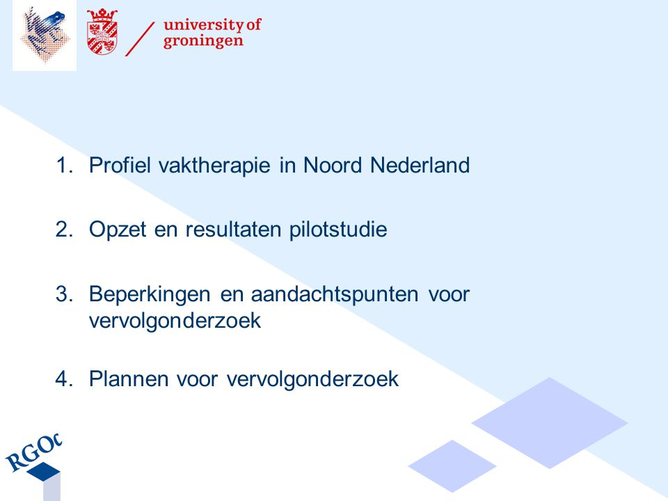 1.Profiel vaktherapie in Noord Nederland 2.Opzet en resultaten pilotstudie 3.Beperkingen en aandachtspunten voor vervolgonderzoek 4.Plannen voor vervolgonderzoek