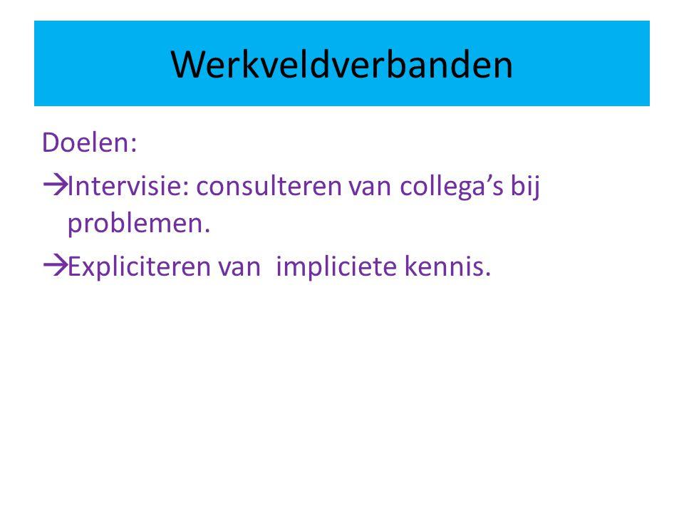 Werkveldverbanden Doelen:  Intervisie: consulteren van collega's bij problemen.  Expliciteren van impliciete kennis.
