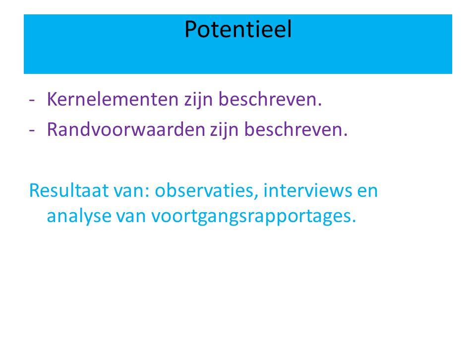 Potentieel -Kernelementen zijn beschreven. -Randvoorwaarden zijn beschreven. Resultaat van: observaties, interviews en analyse van voortgangsrapportag