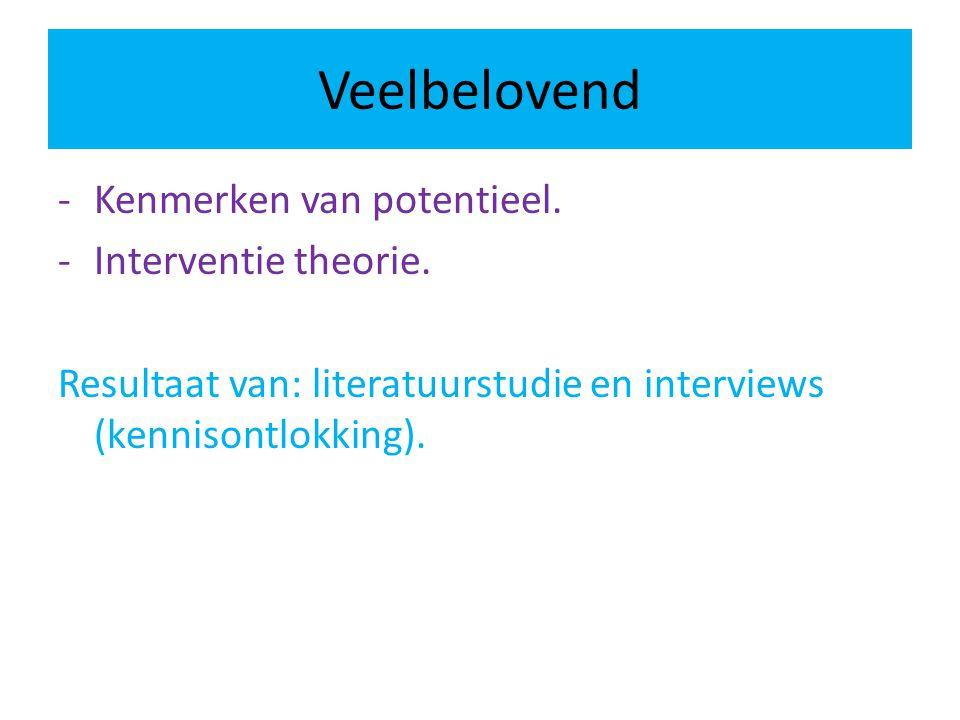 Veelbelovend -Kenmerken van potentieel. -Interventie theorie. Resultaat van: literatuurstudie en interviews (kennisontlokking).