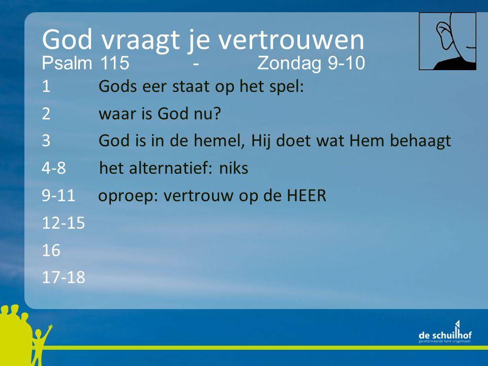 God vraagt je vertrouwen 1 Gods eer staat op het spel: 2 waar is God nu.