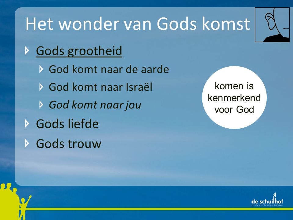 Het wonder van Gods komst Gods grootheid God komt naar de aarde God komt naar Israël God komt naar jou Gods liefde Gods trouw komen is kenmerkend voor