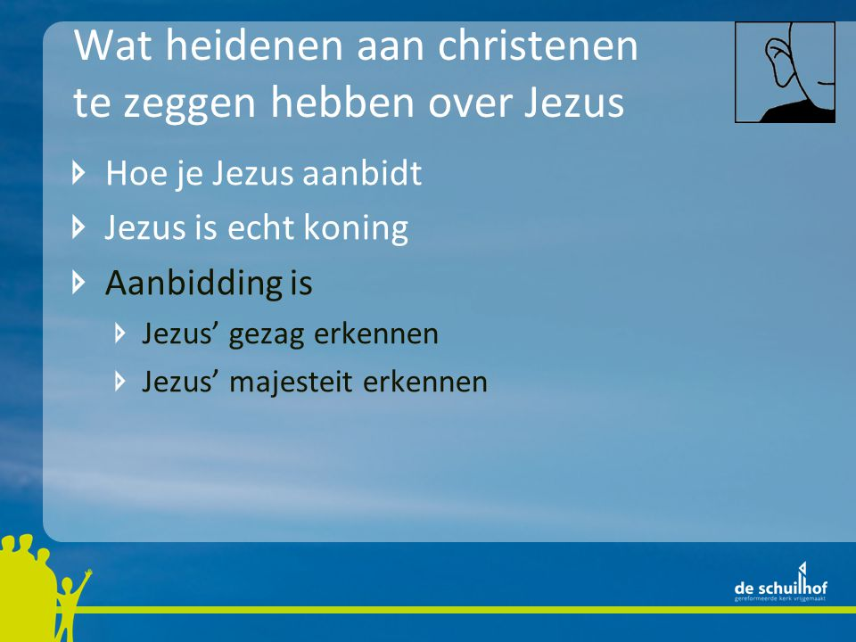 Wat heidenen aan christenen te zeggen hebben over Jezus Hoe je Jezus aanbidt Jezus is echt koning Aanbidding is Jezus' gezag erkennen Jezus' majesteit erkennen met vreugde