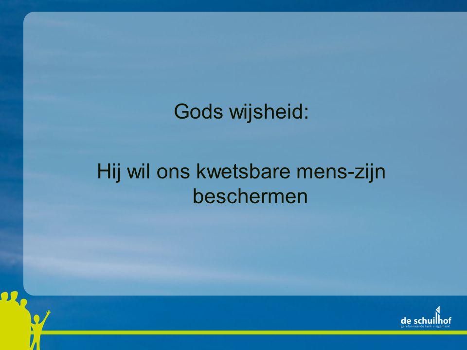 Gods wijsheid: Hij wil ons kwetsbare mens-zijn beschermen