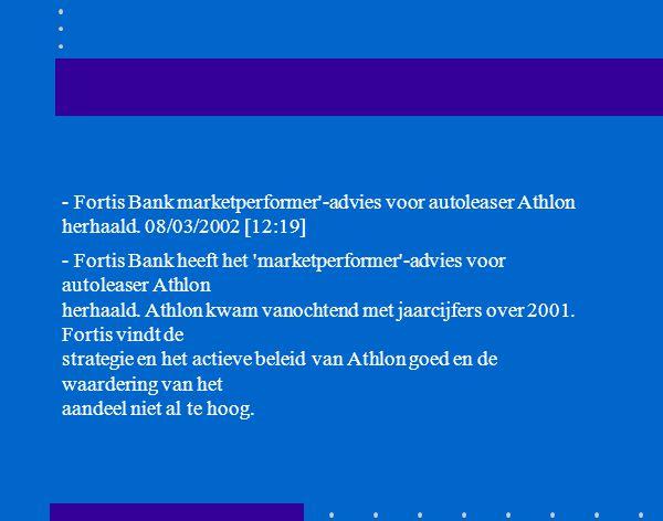 Vooruitzichten 2002 AMSTERDAM - Standard & Poors meldt dat het besluit van Athlon Groep NV om haar Duitse verhuuractiviteiten van CC Raule te beëindigen en om een achtergestelde lening uit te geven, geen invloed zal hebben op de ratings of outlook van Athlon.
