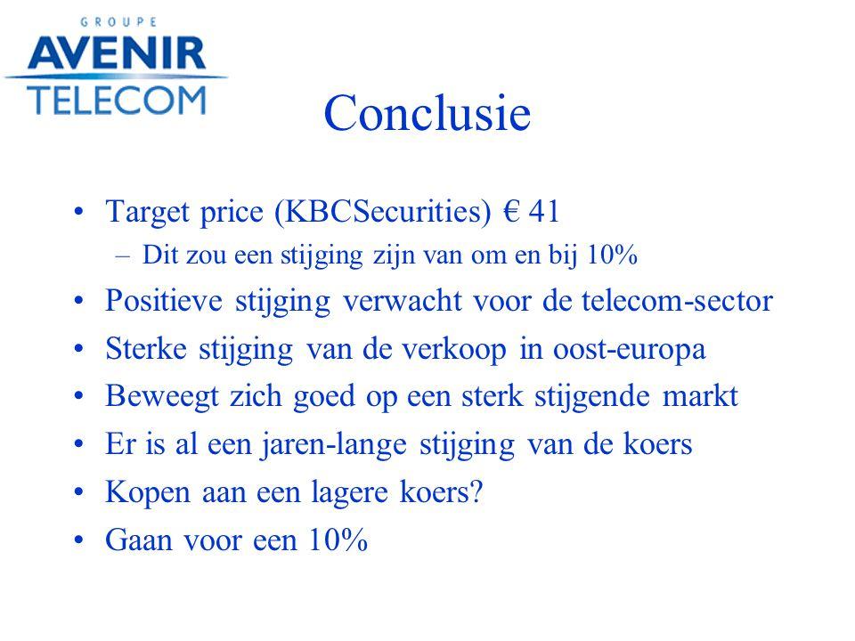 Conclusie Target price (KBCSecurities) € 41 –Dit zou een stijging zijn van om en bij 10% Positieve stijging verwacht voor de telecom-sector Sterke stijging van de verkoop in oost-europa Beweegt zich goed op een sterk stijgende markt Er is al een jaren-lange stijging van de koers Kopen aan een lagere koers.