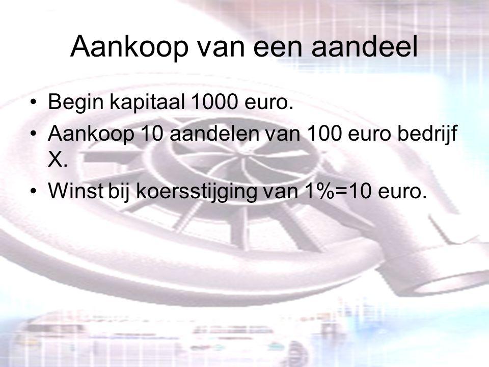 Aankoop van een aandeel Begin kapitaal 1000 euro. Aankoop 10 aandelen van 100 euro bedrijf X. Winst bij koersstijging van 1%=10 euro.