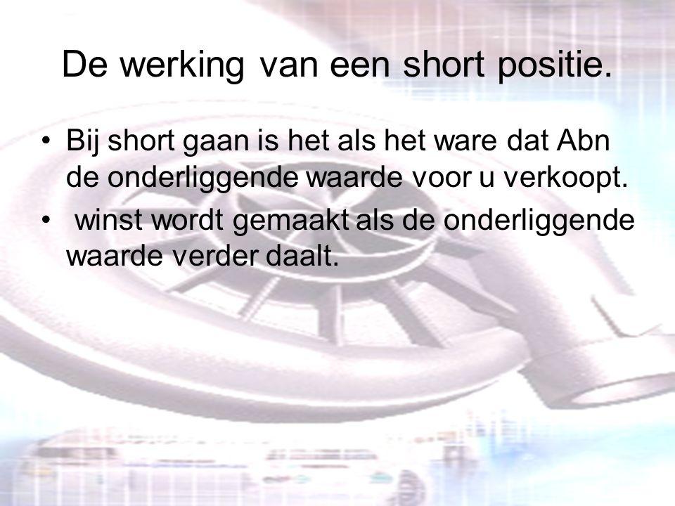 De werking van een short positie. Bij short gaan is het als het ware dat Abn de onderliggende waarde voor u verkoopt. winst wordt gemaakt als de onder