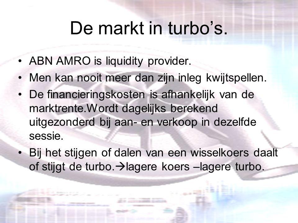 De markt in turbo's. ABN AMRO is liquidity provider. Men kan nooit meer dan zijn inleg kwijtspellen. De financieringskosten is afhankelijk van de mark
