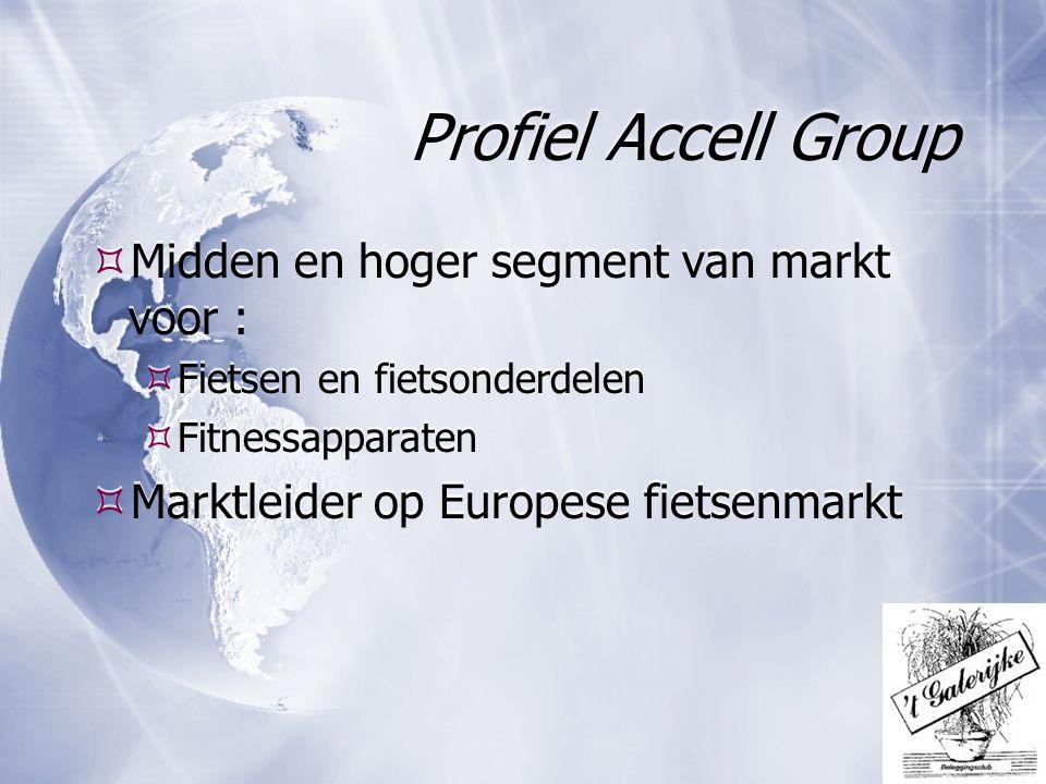 Profiel Accell Group  Midden en hoger segment van markt voor :  Fietsen en fietsonderdelen  Fitnessapparaten  Marktleider op Europese fietsenmarkt