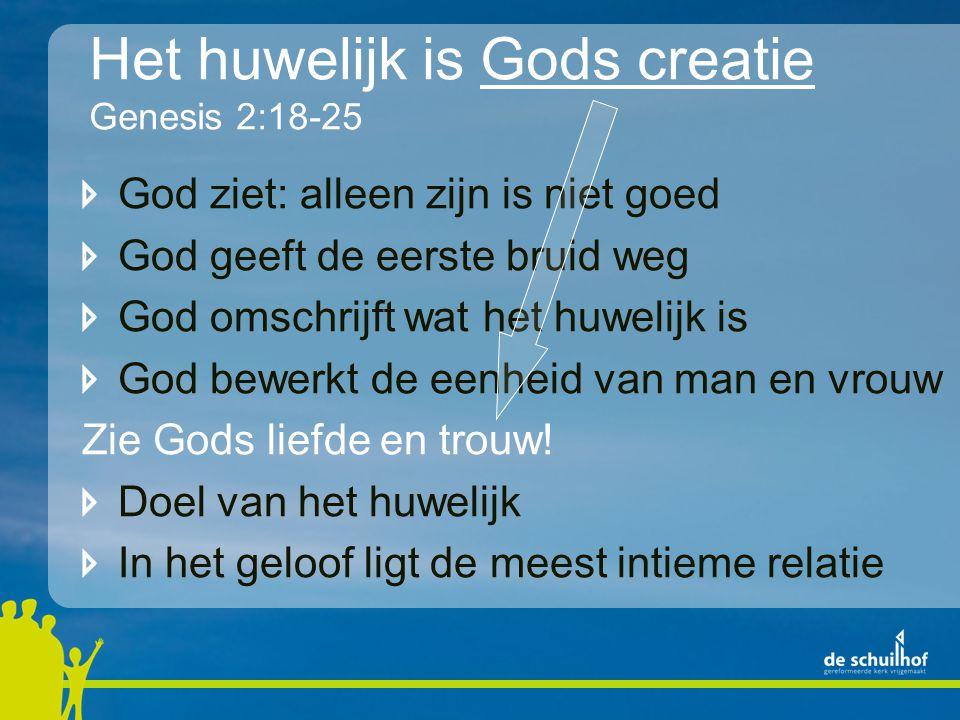 Het huwelijk is Gods creatie Genesis 2:18-25 God ziet: alleen zijn is niet goed God geeft de eerste bruid weg God omschrijft wat het huwelijk is God b