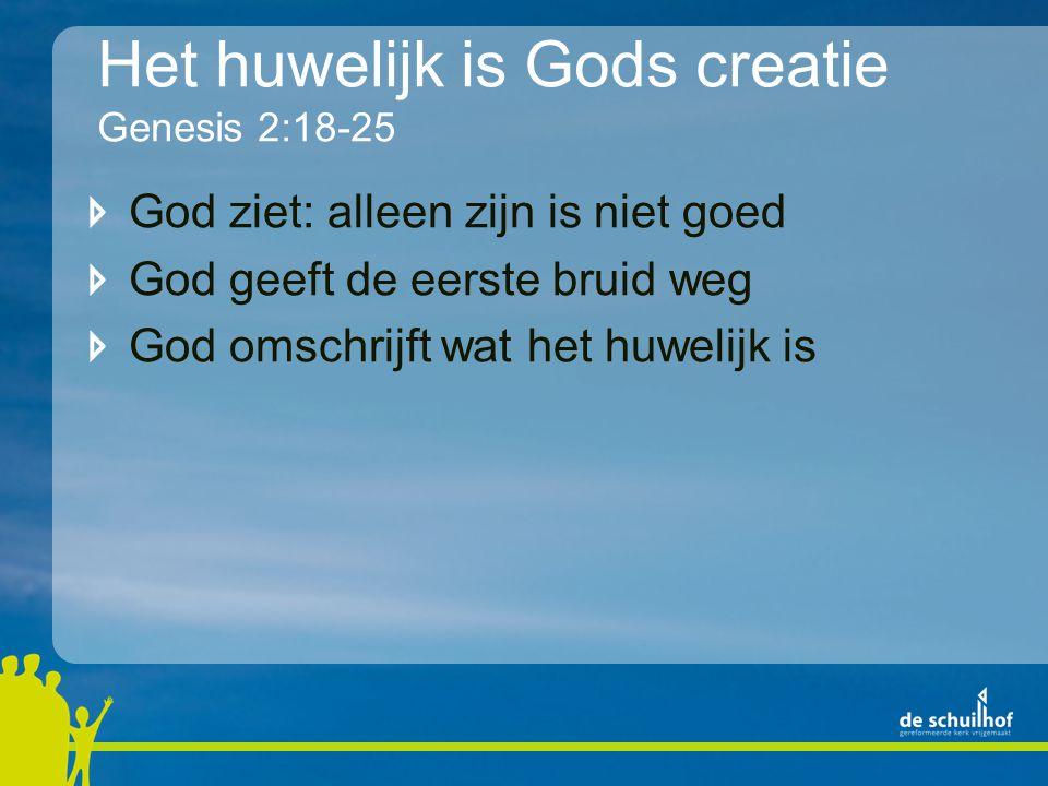 Het huwelijk is Gods creatie Genesis 2:18-25 God ziet: alleen zijn is niet goed God geeft de eerste bruid weg God omschrijft wat het huwelijk is
