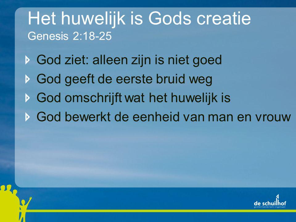 Het huwelijk is Gods creatie Genesis 2:18-25 God ziet: alleen zijn is niet goed God geeft de eerste bruid weg God omschrijft wat het huwelijk is God bewerkt de eenheid van man en vrouw