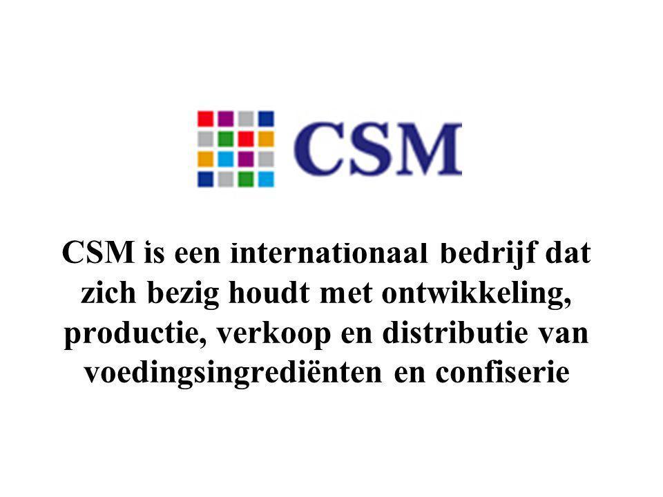 CSM is een internationaal bedrijf dat zich bezig houdt met ontwikkeling, productie, verkoop en distributie van voedingsingrediënten en confiserie