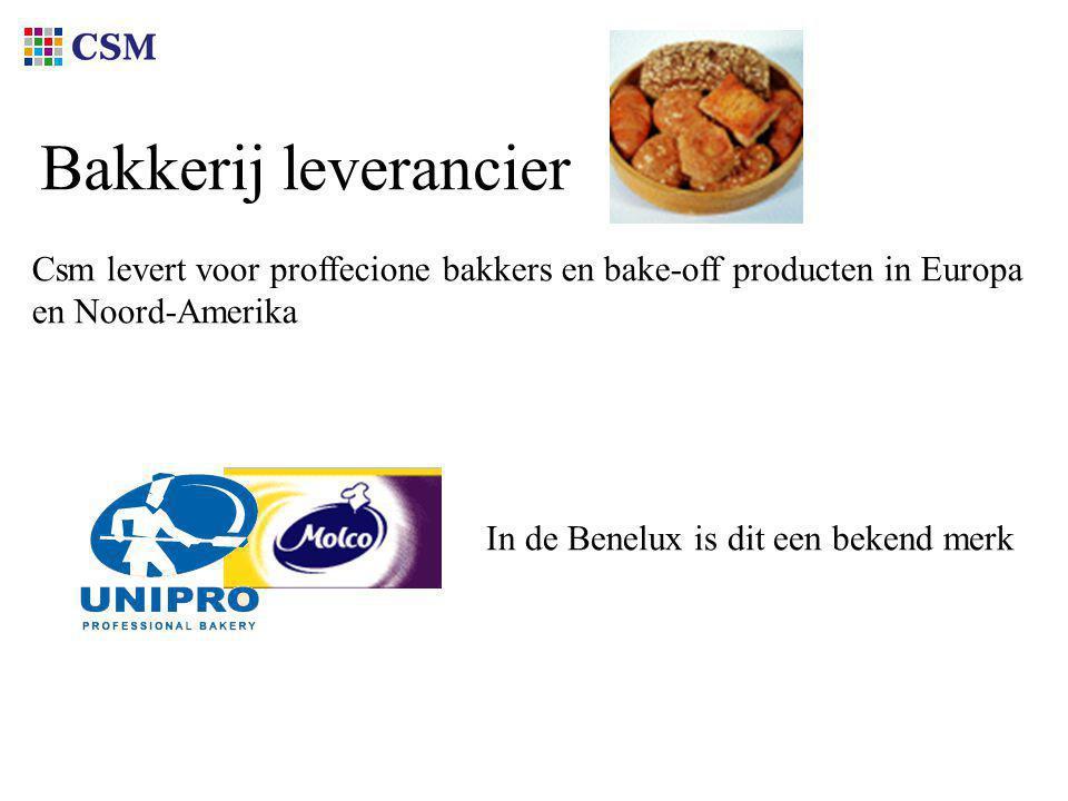 Bakkerij leverancier Csm levert voor proffecione bakkers en bake-off producten in Europa en Noord-Amerika In de Benelux is dit een bekend merk