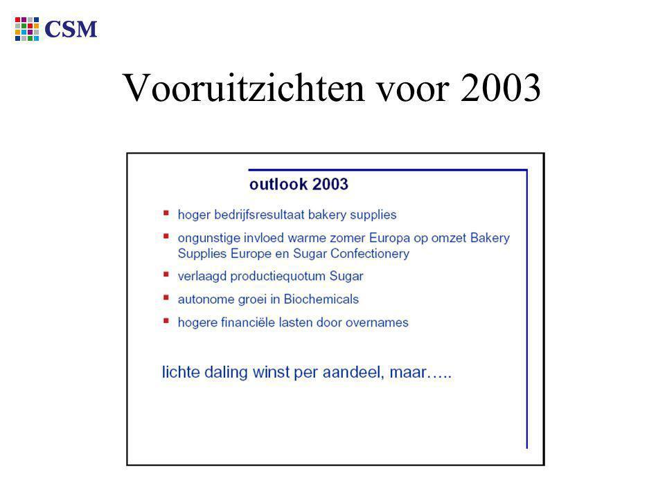 Vooruitzichten voor 2003