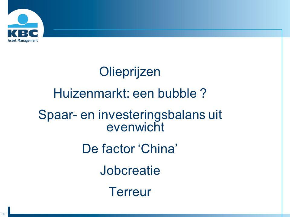 36 Olieprijzen Huizenmarkt: een bubble ? Spaar- en investeringsbalans uit evenwicht De factor 'China' Jobcreatie Terreur