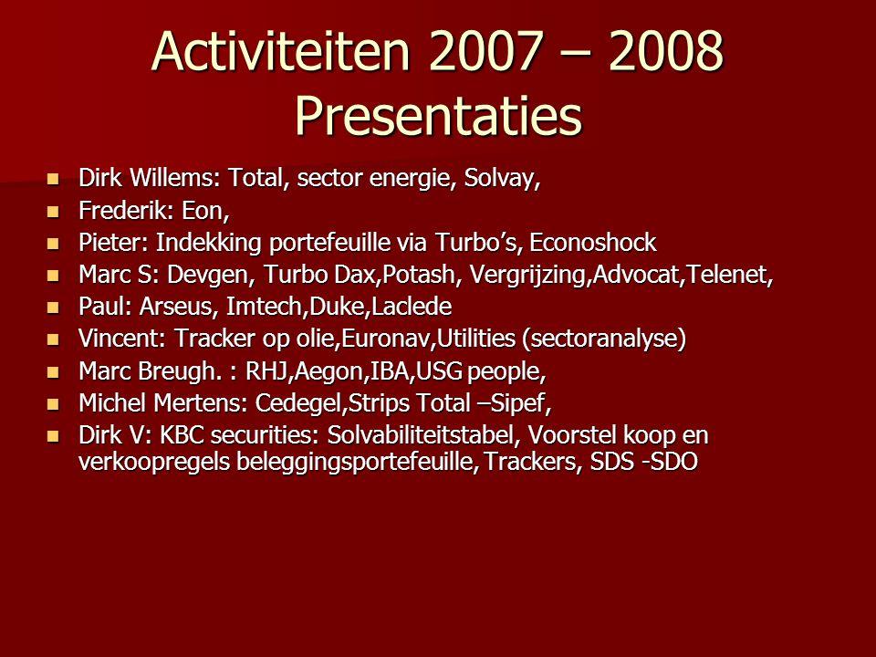 Activiteiten 2007 – 2008 Presentaties Dirk Willems: Total, sector energie, Solvay, Dirk Willems: Total, sector energie, Solvay, Frederik: Eon, Frederi