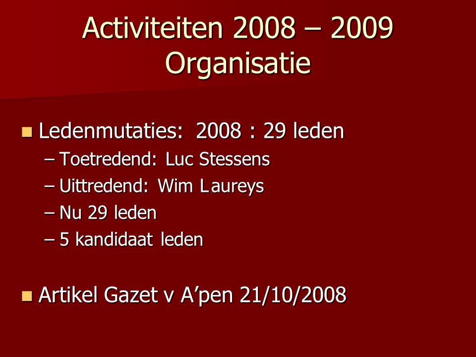 Activiteiten 2008 – 2009 Organisatie Ledenmutaties: 2008 : 29 leden Ledenmutaties: 2008 : 29 leden –Toetredend: Luc Stessens –Uittredend: Wim Laureys