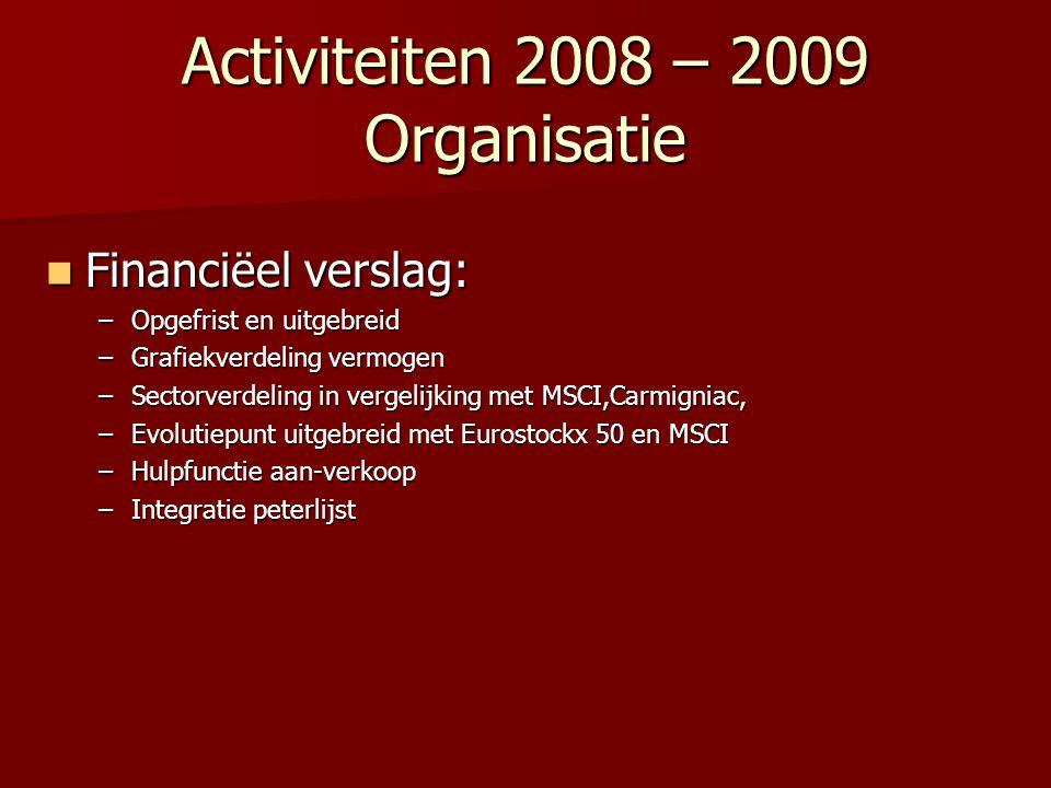 Activiteiten 2008 – 2009 Organisatie Financiëel verslag: Financiëel verslag: –Opgefrist en uitgebreid –Grafiekverdeling vermogen –Sectorverdeling in v