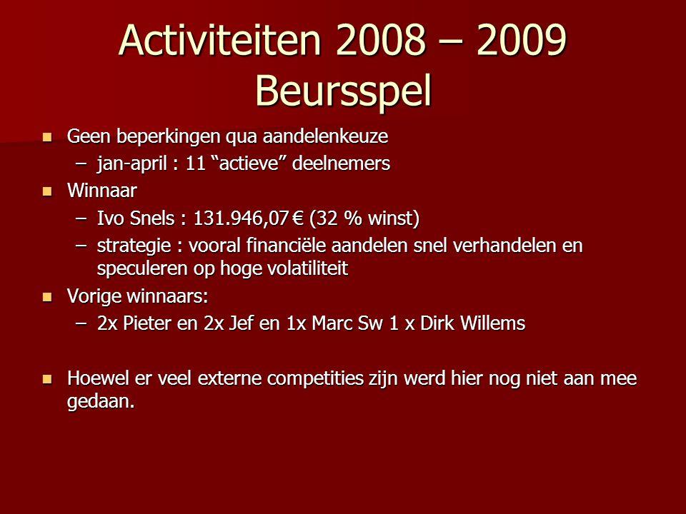 """Activiteiten 2008 – 2009 Beursspel Geen beperkingen qua aandelenkeuze Geen beperkingen qua aandelenkeuze –jan-april : 11 """"actieve"""" deelnemers Winnaar"""