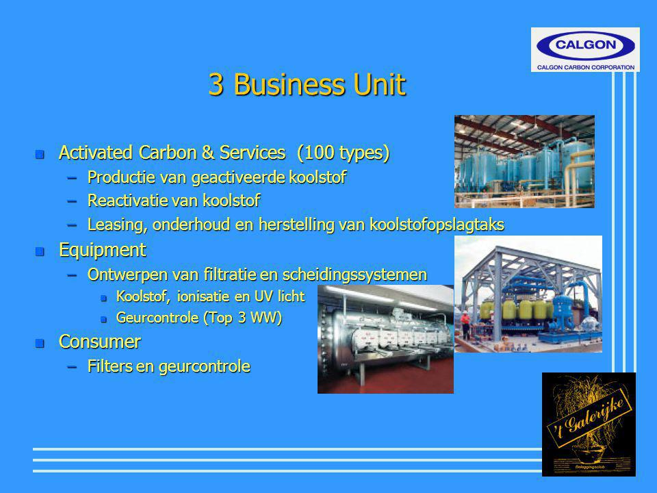 3 Business Unit n Activated Carbon & Services (100 types) –Productie van geactiveerde koolstof –Reactivatie van koolstof –Leasing, onderhoud en herste