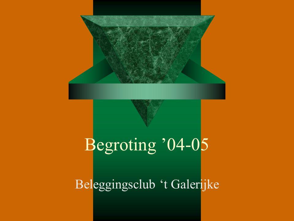 Begroting '04-05 Beleggingsclub 't Galerijke