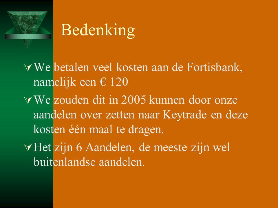 Bedenking  We betalen veel kosten aan de Fortisbank, namelijk een € 120  We zouden dit in 2005 kunnen door onze aandelen over zetten naar Keytrade en deze kosten één maal te dragen.