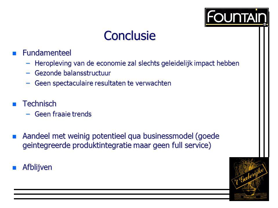 Conclusie n Fundamenteel –Heropleving van de economie zal slechts geleidelijk impact hebben –Gezonde balansstructuur –Geen spectaculaire resultaten te