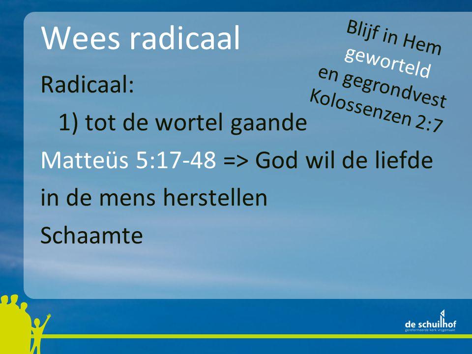 Wees radicaal Radicaal: 1) tot de wortel gaande Matteüs 5:17-48 => God wil de liefde in de mens herstellen Schaamte Blijf in Hem geworteld en gegrondvest Kolossenzen 2:7