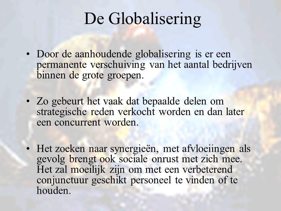 De Globalisering Door de aanhoudende globalisering is er een permanente verschuiving van het aantal bedrijven binnen de grote groepen. Zo gebeurt het