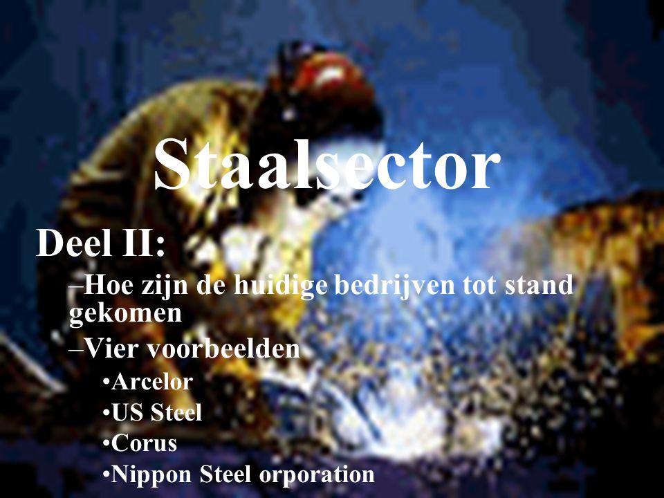 Staalsector Deel II: –Hoe zijn de huidige bedrijven tot stand gekomen –Vier voorbeelden Arcelor US Steel Corus Nippon Steel orporation