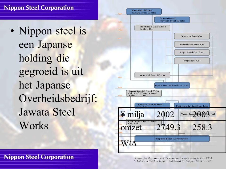 Nippon steel is een Japanse holding die gegroeid is uit het Japanse Overheidsbedrijf: Jawata Steel Works ¥ milja20022003 omzet2749.3258.3 W/A