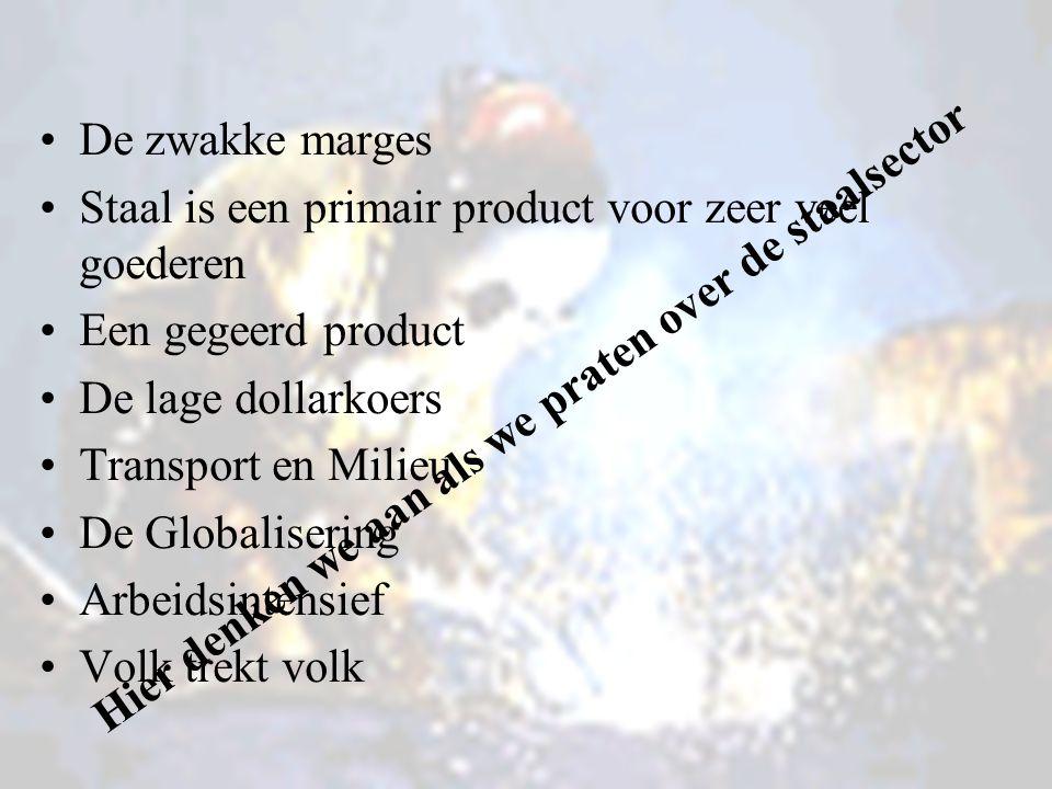 De zwakke marges Staal is een primair product voor zeer veel goederen Een gegeerd product De lage dollarkoers Transport en Milieu De Globalisering Arbeidsintensief Volk trekt volk Hier denken we aan als we praten over de staalsector