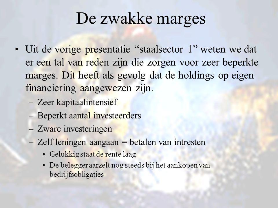 De zwakke marges Uit de vorige presentatie staalsector 1 weten we dat er een tal van reden zijn die zorgen voor zeer beperkte marges.