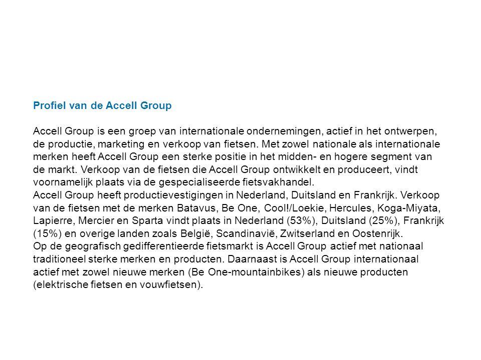 Profiel van de Accell Group Accell Group is een groep van internationale ondernemingen, actief in het ontwerpen, de productie, marketing en verkoop van fietsen.