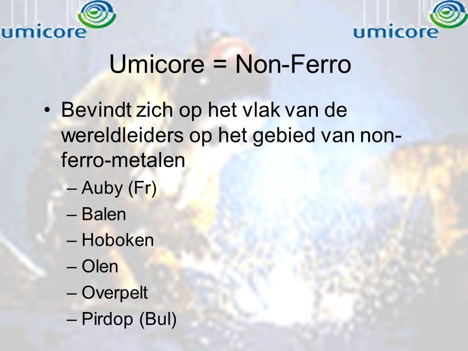Umicore = Non-Ferro Bevindt zich op het vlak van de wereldleiders op het gebied van non- ferro-metalen –Auby (Fr) –Balen –Hoboken –Olen –Overpelt –Pir