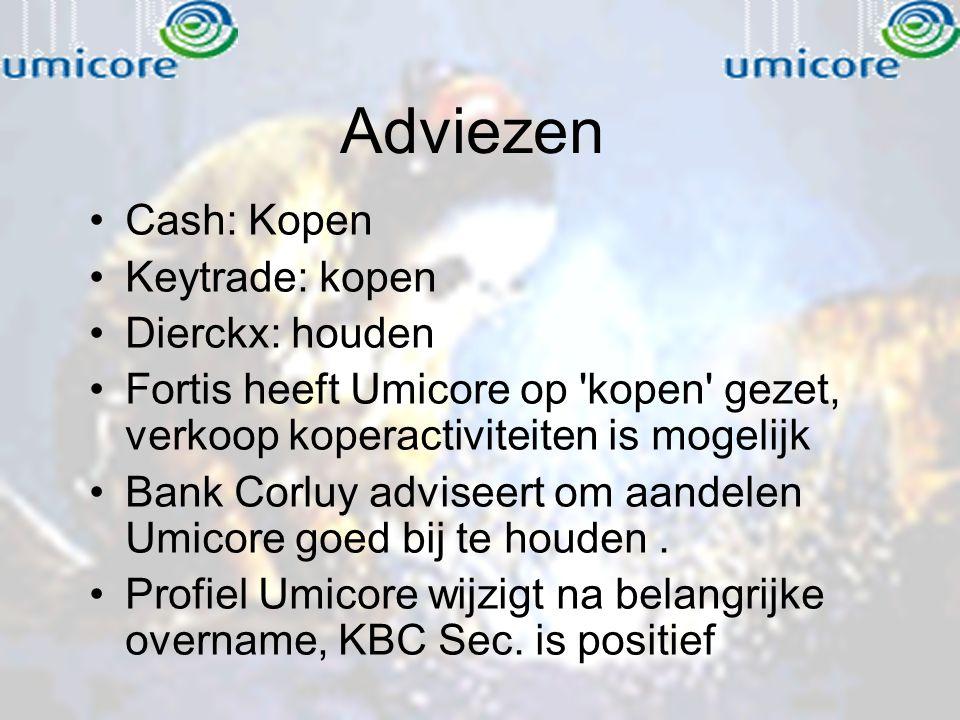 Adviezen Cash: Kopen Keytrade: kopen Dierckx: houden Fortis heeft Umicore op 'kopen' gezet, verkoop koperactiviteiten is mogelijk Bank Corluy adviseer