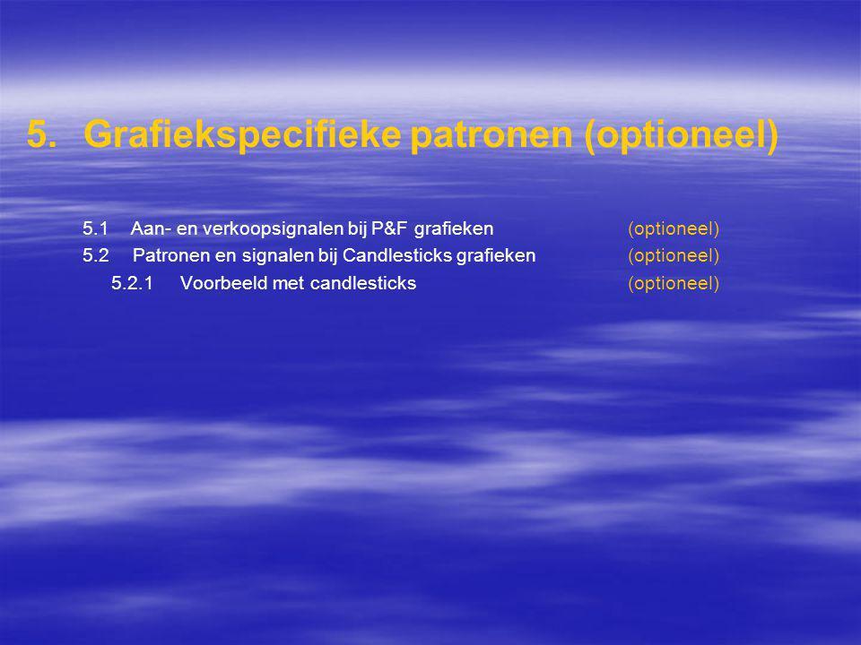 5. 5.Grafiekspecifieke patronen (optioneel) 5.1 Aan- en verkoopsignalen bij P&F grafieken (optioneel) 5.2 Patronen en signalen bij Candlesticks grafie