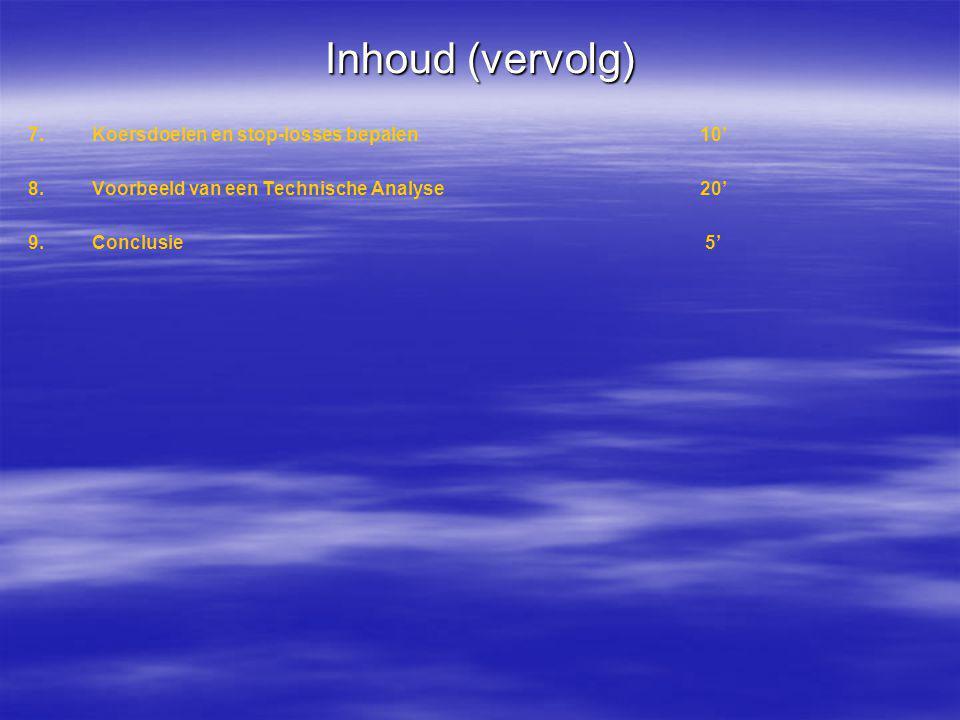 Inhoud (vervolg) 7.Koersdoelen en stop-losses bepalen10' 8.Voorbeeld van een Technische Analyse20' 9.Conclusie 5'