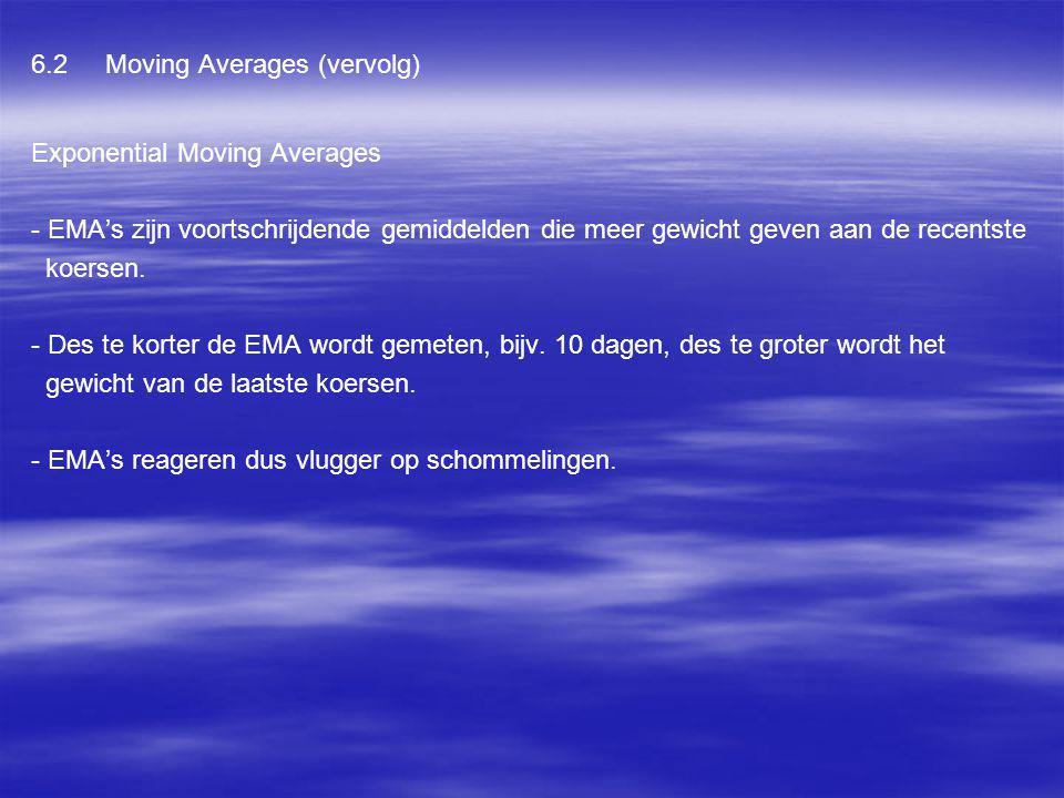 6.2 Moving Averages (vervolg) Exponential Moving Averages - EMA's zijn voortschrijdende gemiddelden die meer gewicht geven aan de recentste koersen. -