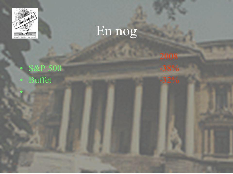 En nog 2008 S&P 500 -38% Buffet -32%